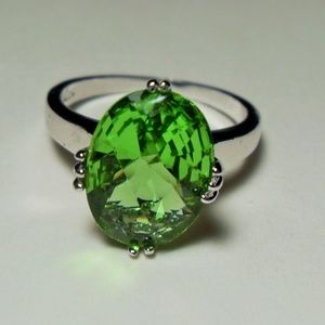 Sterling Silver Helenite Ring, Size 12 Unisex Ring